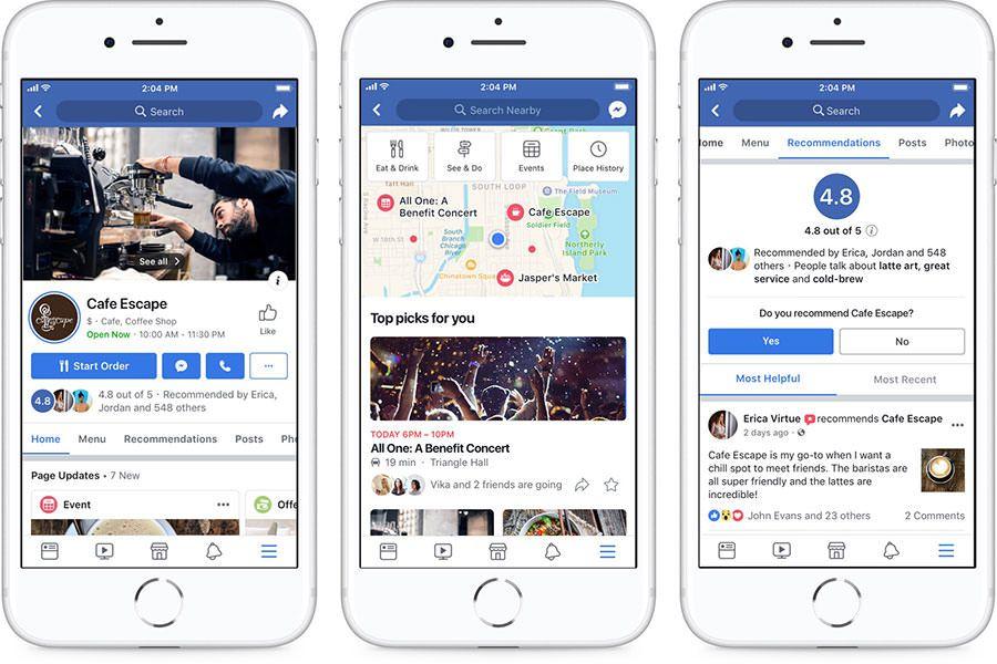 Dal 23 Luglio 2018 Facebook ha modificato il design delle pagine per soddisfare maggiormente le esigenze delle attività commerciali sul territorio.