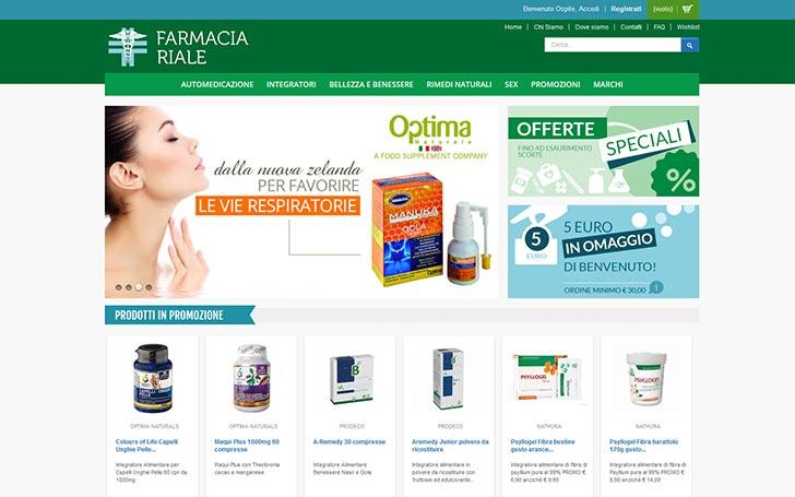 Sito internet di farmacia per la vendita online di prodotti per il benessere, integratori e farmaci SOP